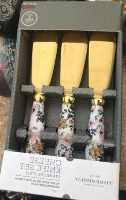 New Threshold Cheese Knife Set Stainless Steel Food Safe Gol