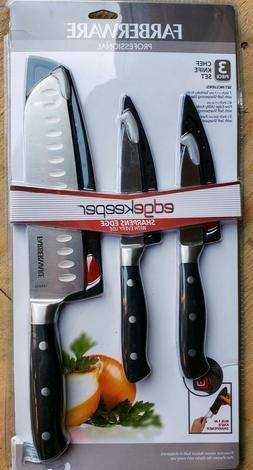 New Farberware Edgekeeper 3 Knife Set 6pcs w/Built-in knife
