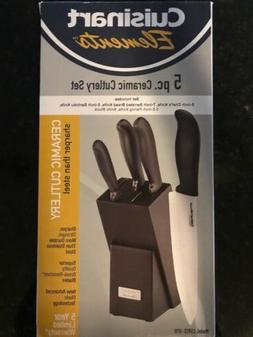 NEW CUISINART ELEMENTS 5 PIECE CERAMIC CUTLERY KNIFE SET WIT