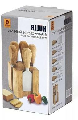 NEW in Box Hullr 6-piece Cheese Knife Set with Rubberwood Bl