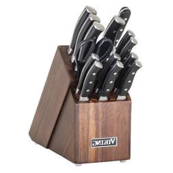 New Viking 15-Piece Knife Set With Wood Block Premium German