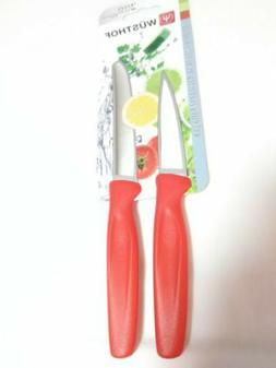 NWT!/NIP! Wusthof Zest 2-Piece Paring Knife Set/$30/Red