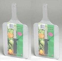 Set Of 2 Paddle Shaped Plastic Cutting Boards W/bonus Paring