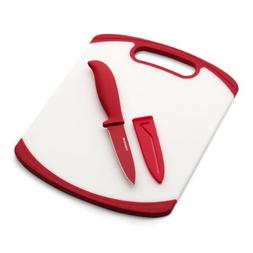 Farberware Paring Knife and Cutting Board Set, White/Red