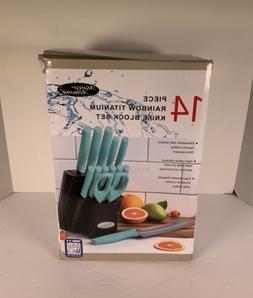 Marco Almond Rainbow Titanium Knife Set Cutlery Wooden Block