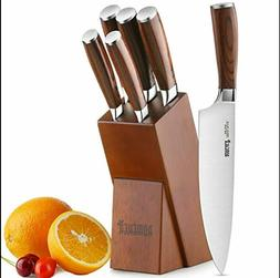 Knife Set,6-Piece Kitchen Knife Set with Wooden Block  High