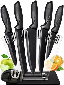 Best Kitchen Knife Set with Block Stainles Steel Sharpener S