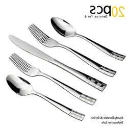 Silverware Set, 20 Pieces Flatware Set with Fork, Knife and