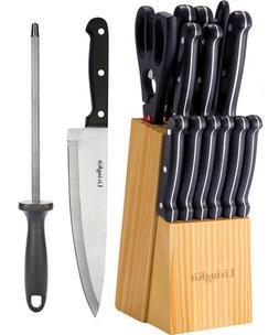 LivingKit Stainless Steel Kitchen Knife Block Set 14 Piece H