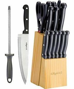 14 Piece Knife Set Wooden Block Home Kitchen High Quality St