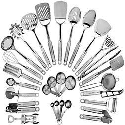 Stainless Steel Kitchen Utensil Set - 29 Cooking Utensils -