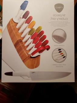 Reo 14-Piece Stainless Steel Knife Block Set, White/Assorted