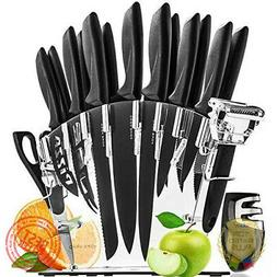 Stainless Steel Knife Set with Block - 13 Kitchen Knives Set