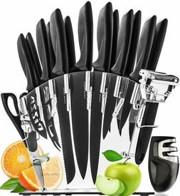 """""""Stainless Steel Knife Set with Block - 13 Kitchen Knives Se"""