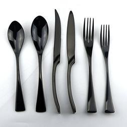 Uniturcky Stainless Steel Mirror Polished Black Flatware Set