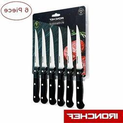 Iron Chef Steak Knives Set 6 Piece Serrated Steak Knife Set