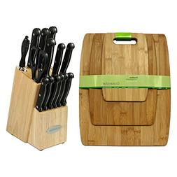 Oceanstar Traditional Knife Set with Block, Natural, 15-Piec
