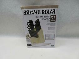 Farberware 17 Piece Triple Rivet Cutlery Set, Black