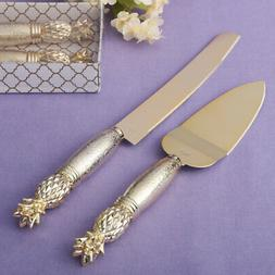 Two Piece Gold Pineapple Themed Cake Knife Set With Stainles