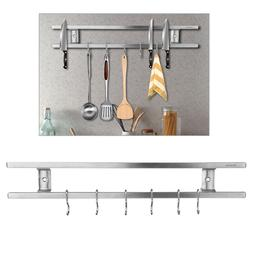 Wall-mounted Magnetic Knife Holder Double Bar Knife Rack for