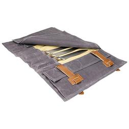 Zelancio Waxed Canvas Knife Roll Bag with 9 Knife Slots and