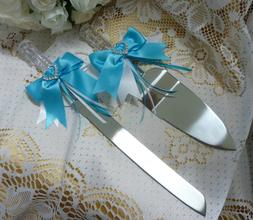 WEDDING CAKE SERVER SET KNIFE CRYSTAL LOOK BOW HEART DIAMANT
