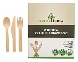 Wooden Disposable Utensils Set 100 Forks 50 Spoons 50 Knives