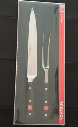 "Wusthof Classic Carving 9"" Knife Set w/ Stamped Fork 2 pc 45"
